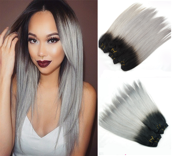 Fashion Ombre 3 Sets Weft Hair Extensions Fashion Hair